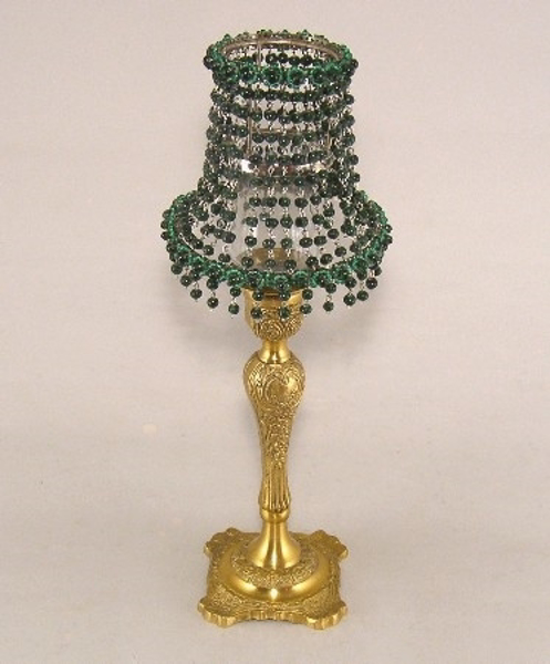 "Picture of Candle Lamp with Green Bead Shade #KLR7  5.75""x15""H"