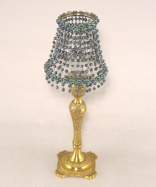 "Picture of Candle Lamp with Shiny Green Bead Shade #KLR9  5.75""x15""H"