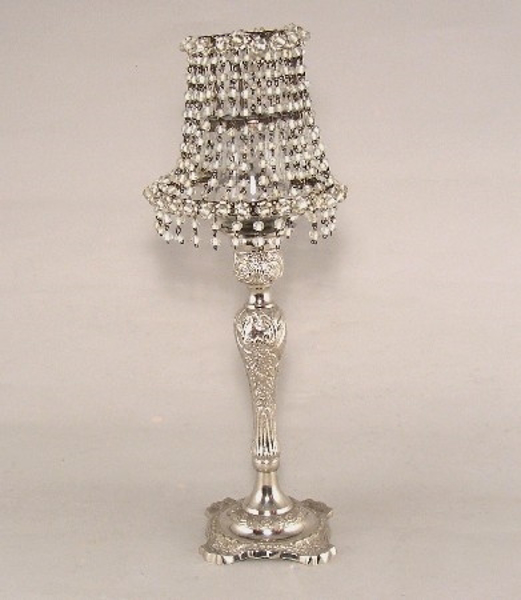 """Picture of Candle Lamp with White Bead Shade #KLR5  5.75""""x15""""H"""