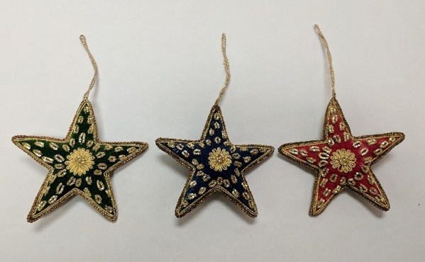 """Picture of Hand Embroidered Ornament Star Set/3 #XE002  4.5""""x4.5"""""""