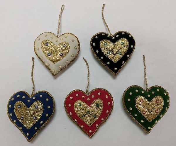 "Picture of Hand Embroidered Ornament Heart Set/5 #XE003  4""x4.5"""