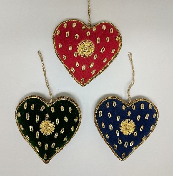 "Picture of Hand Embroidered Ornament Heart Set/3 #XE004  4""x4.5"""
