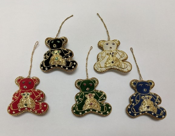 "Picture of Hand Embroidered Ornament Bear Set/5 #XE005  3.5""x3.5"""