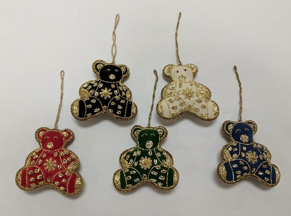 """Picture of Hand Embroidered Ornament Bear Set/5 #XE006  3.5""""x3.5"""""""