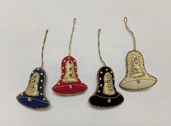 """Picture of Hand Embroidered Ornament Bell Set/4 #XE013  3.25""""x3.5""""H"""