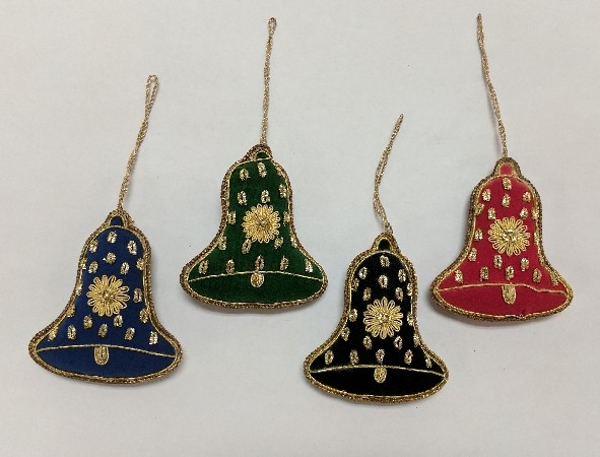 """Picture of Hand Embroidered Ornament Bell set/4 #XE014  3.25""""x3.5""""H"""