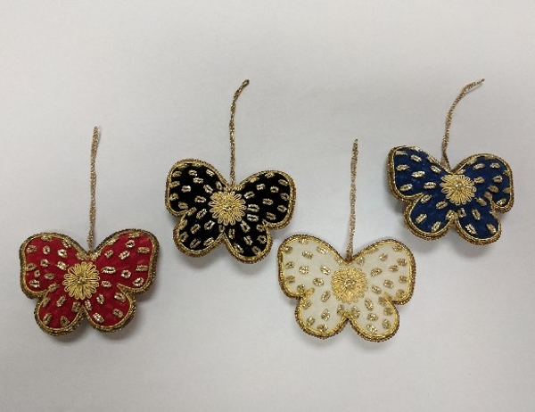 """Picture of Hand Embroidered Ornament Butterfly Set/4 #XE010  4""""x3""""H"""