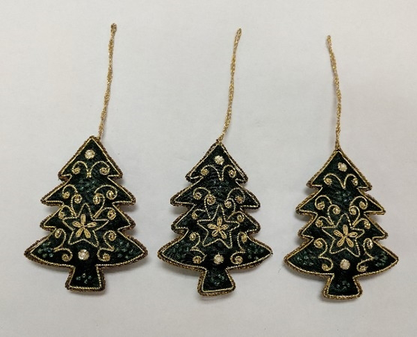 "Picture of Hand Embroidered Ornament Tree set/3 #XE015  3""x4""H"