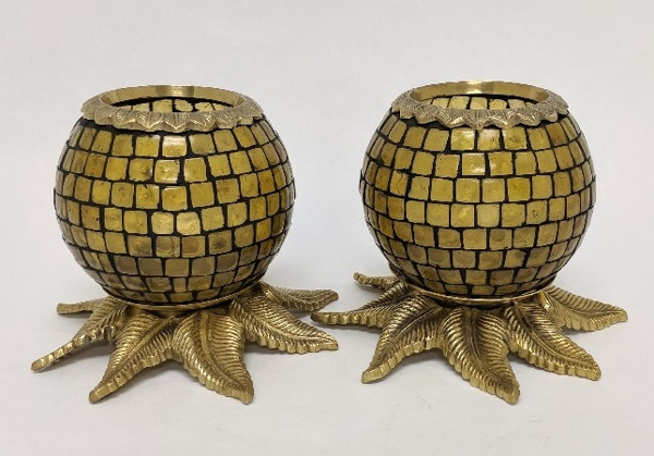"""Picture of Amber Mosaic Votive on Brass Base Pair #K90372   5""""x6""""H"""