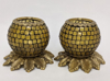 "Picture of Amber Mosaic Votive on Brass Base Pair #K90371   5""x6""H"