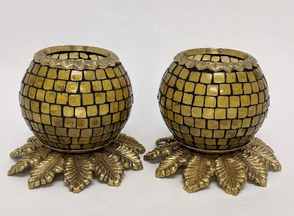 """Picture of Amber Mosaic Votive on Brass Base Pair #K90371   5""""x6""""H"""