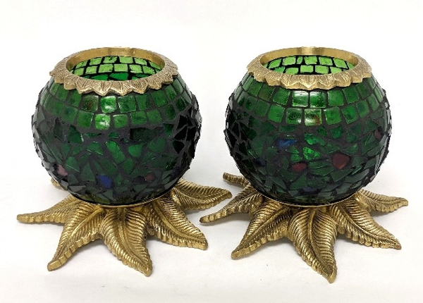 "Picture of Green Mosaic Votive on Brass Base Pair #K90370   5""x6""H"