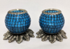 """Picture of Light Blue Mosaic Votive on Silver Base Pair #K90367   5""""x6""""H"""