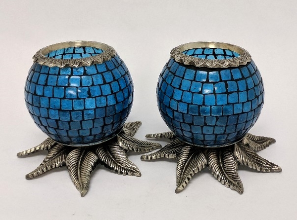 """Picture of Light Blue Mosaic Votive on Silver Base Pair #K90368   5""""x6""""H"""
