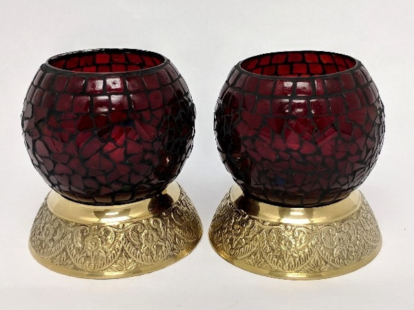 "Picture of Red Mosaic Votive on Brass Base Pair #K90366   5""x6""H"