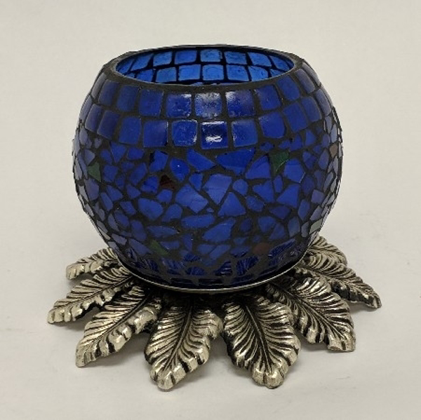 "Picture of Cobalt Blue Mosaic Votive on Silver Base #K90364   5""x6""H"