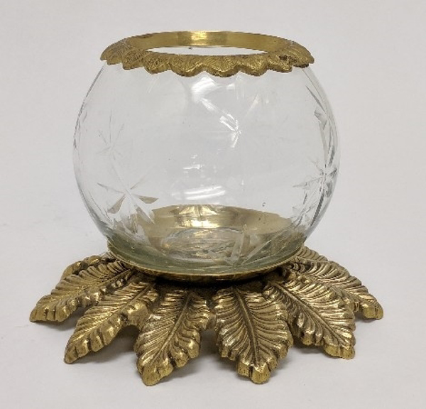 """Picture of Clear Cut Glass Votive on Brass Base #CL10PB   5""""x6""""H"""