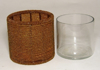 """Picture of Votive Candle Holder Brown Bead with Glass Insert I 4""""Dx4""""H I #20416"""