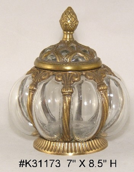 "Picture of Antique Gold Round Jar #C31173 ""SOLD AS IS""  7""Dx8.5"" H"