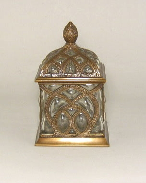 "Picture of Antique Gold Square Jar #C37072 ""SOLD AS IS""  5""x5""x8"" H"