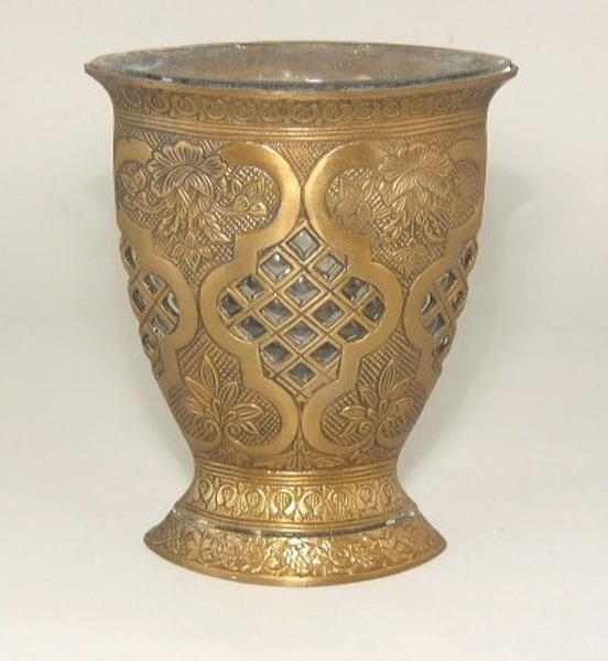 "Picture of Antique Gold Flat Vase #C37065   4""x6.5""x8"" H"