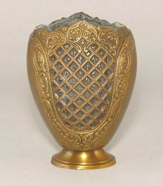 "Picture of Antique Gold Flat Vase #C37066   3""x4.5""x6.5"" H"