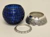 "Picture of Cobalt Blue Mosaic Votive on Silver Base Pair #K90362   5""x6""H"