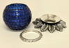 "Picture of Cobalt Blue Mosaic Votive on Silver Base Pair #K90361  5""Dx6""H"