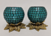 """Picture of Sky Blue Mosaic Votive on Brass Base Pair #K90369   5""""x6""""H"""