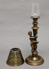 """Picture of Antique Gold Candle Lamp with Metal Shade #K11109  5.5""""Dx16.25""""H"""