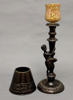 """Picture of Bronze Candle Lamp with Metal Shade #K11110  5.5""""Dx16.25""""H"""