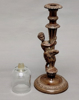 """Picture of Brown Patina on Brass Candle Holder Boy on Pole with Glass Peg Votive     5.5""""Dx13""""H    Item No. K11111"""