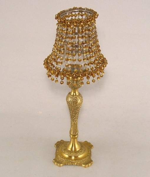"""Picture of Candle Lamp with Amber Bead Shade #KLR1  5.5""""Dx15""""H"""