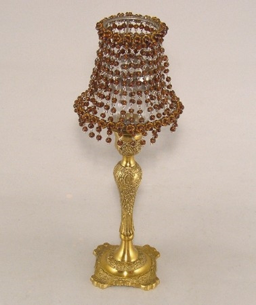 """Picture of Candle Lamp with Amber Bead Shade #KLR2  5.5""""Dx15""""H"""