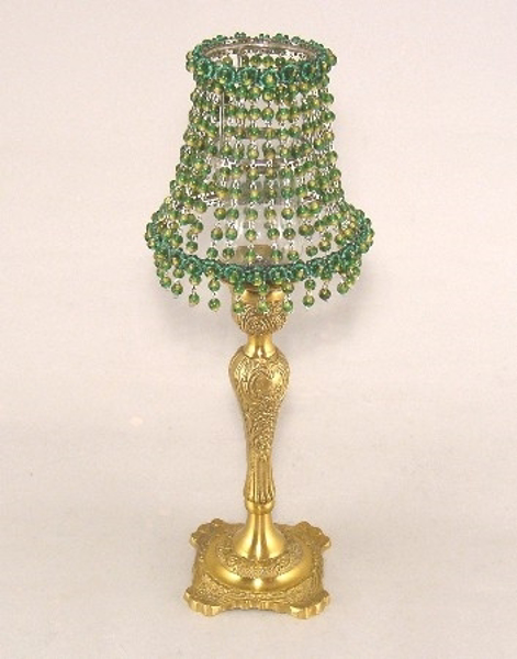 """Picture of Candle Lamp with Green Bead Shade #KLR8  5.5""""Dx15""""H"""