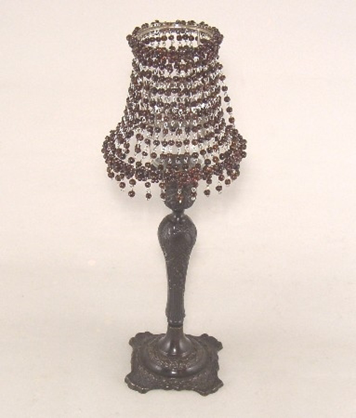 "Picture of Candle Lamp with brown Bead Shade #KLR10  5.5""Dx15""H"