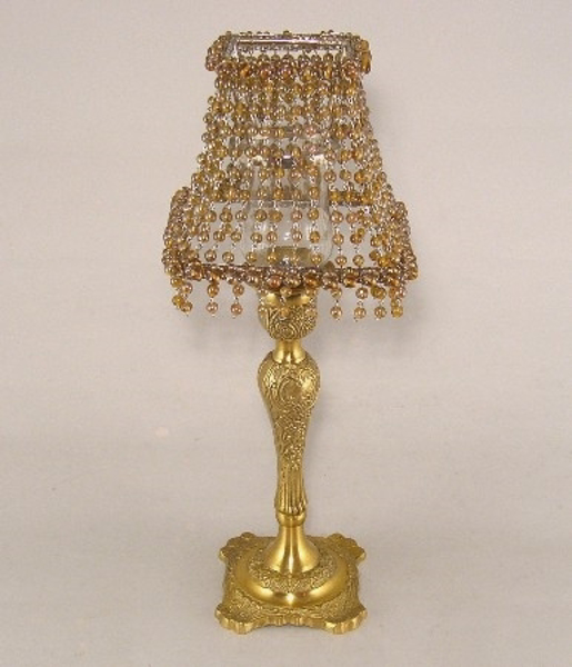 "Picture of Candle Lamp with Square Amber Bead Shade #KLS1  6""x15""H"