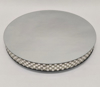 "Picture of Silver Mirror Cake Stand with 4 Rows of Square Mirror Chips Border | 17.5""Dx 2.75""H 