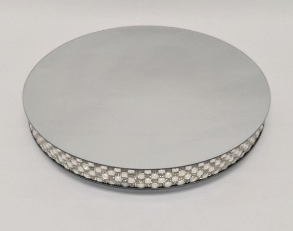 """Picture of Silver Mirror Cake Stand with 4 Rows of Square Mirror Chips Border 