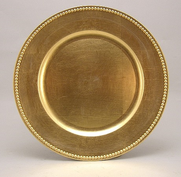 """Picture of Charger Plate Gold Acrylic Bead Border Set/6  