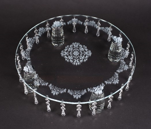 """Picture of Crystal Cake Stand Round Laser Etched 24 Hanging Strands 4-Legs  