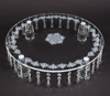 "Picture of Crystal Cake Stand Round Laser Etched 32 Hanging Strands 4-Legs  | 18""Dx4.25""H 