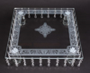 """Picture of Crystal Cake Stand Square Laser Etched 36 Hanging Strands 4-Legs  