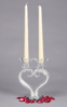 """Picture of Clear Crystal Candle Holder  Heart Shape Stem Two Light 