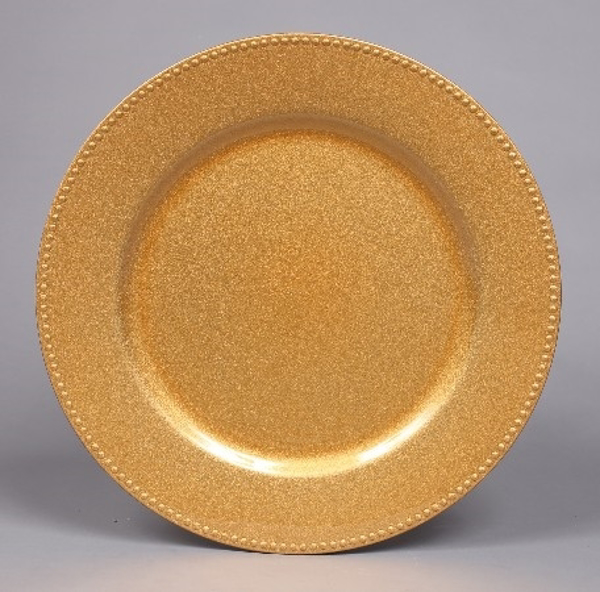 """Picture of Charger Plate Gold Acrylic Bead Border Glitter Set/6    13""""Diameter    Item No. 44618"""