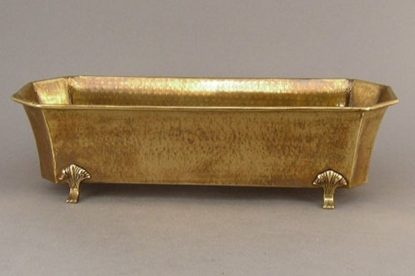 "Picture of Antique Gold Planter Hammered Texture Footed | 6.50"" x 18.00"" x 5.00""H 