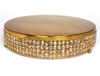 """Picture of Gold Finish Metal Cake Stand 4-Rows of Honey Color Crystal Bead Border 