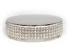 """Picture of Nickel Finish Metal Cake Stand 4-Rows of Clear Crystal Bead Border   16""""Dx4""""H    Item No. 16162"""