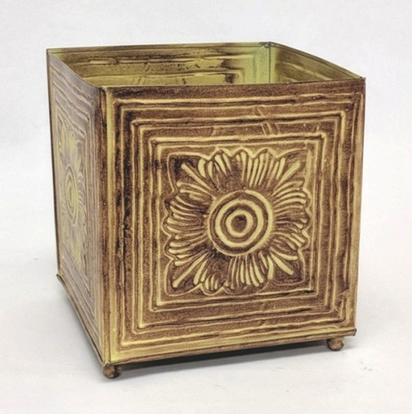 """Picture of Earth Tone Planter Embossed Pattern Square Footed Large 