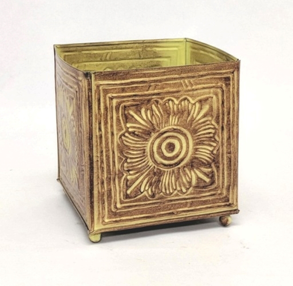 "Picture of Earth Tone Planter Embossed Pattern Square Footed Medium | 6.00"" x 7.00""H 